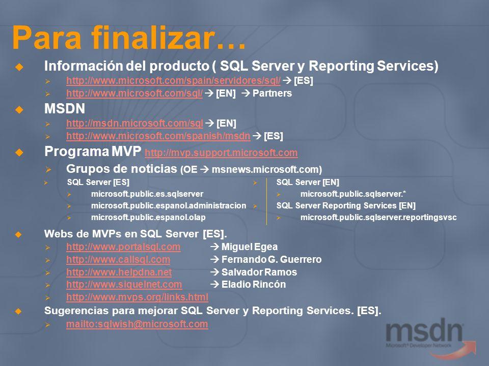Para finalizar… Información del producto ( SQL Server y Reporting Services) http://www.microsoft.com/spain/servidores/sql/  [ES]